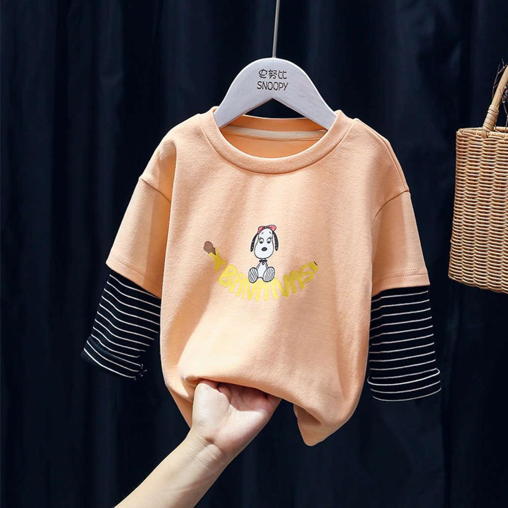 2020 Primavera Early New Corean Snoopy Boys 'and Girls' Holiday Two Piece Children's Steinsted Sve Base Shirt