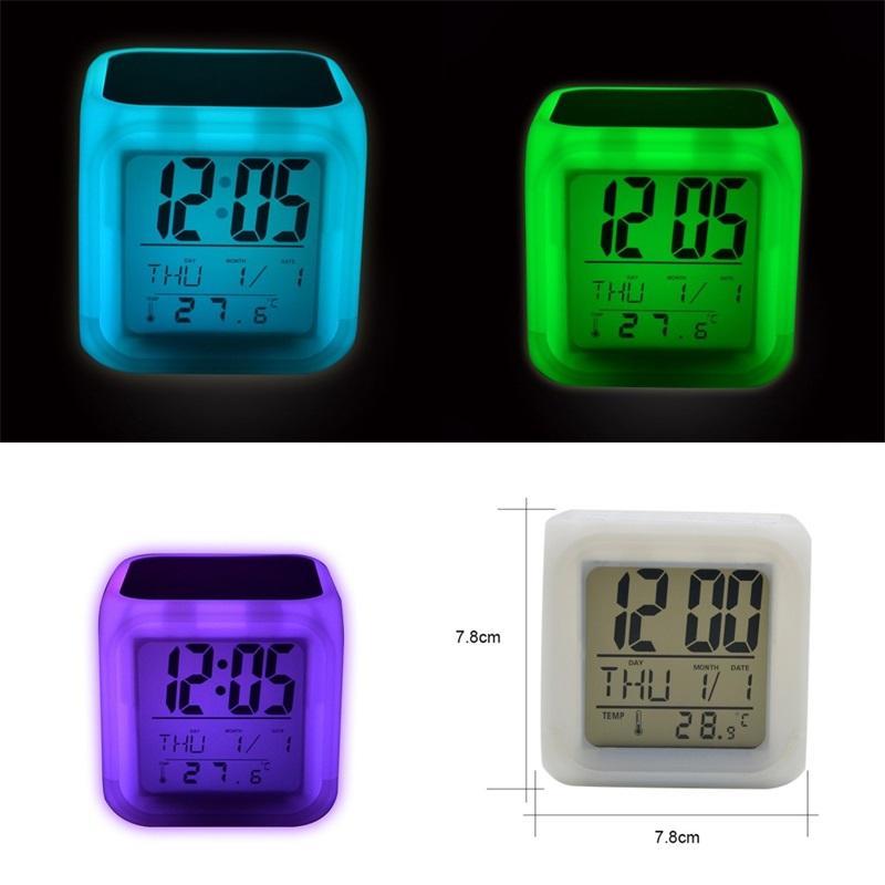 LED Table Relógios Sublimação Blanks Glow Electronics Quarto Quarto Colorido Alarme Lembrete Crianças 8 Tipos de Ringtones 13 5ex M2