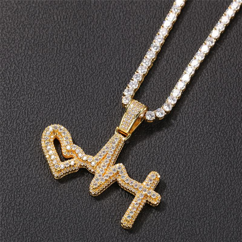 Men Women Fashion Necklace Gold Plated Bling CZ Electrocardiogram Pendant Necklace with Free 24inch Twisted Chain Necklace