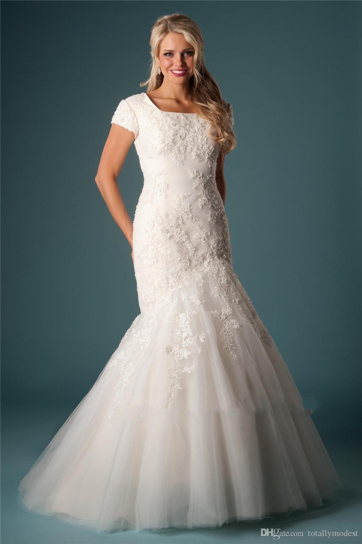 Elegant Tulle Mermaid Modest Wedding Dresses With Short Sleeves Beaded Lace Appliques Square Neck Castle Bridal Gowns Vestido De Noiva