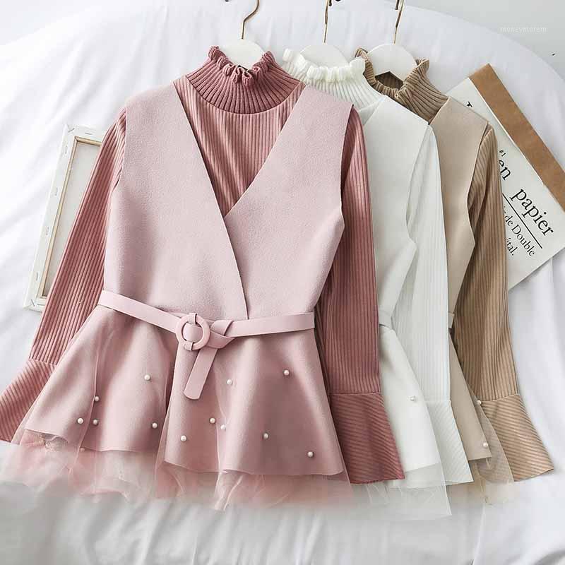 2019 New Fashion Women Abbigliamento Due pezzi Autunno Gilet + T-Shirt1