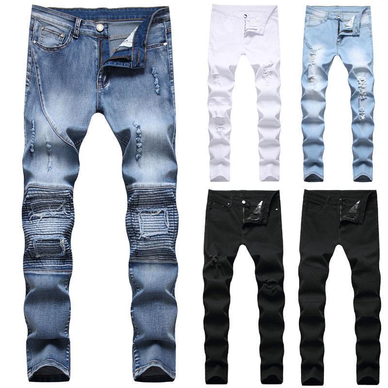 Les nouveaux hommes Skinny Jeans Slim Fit Pantalon extensible Pantalon blanc noir longues Hommes Jeans