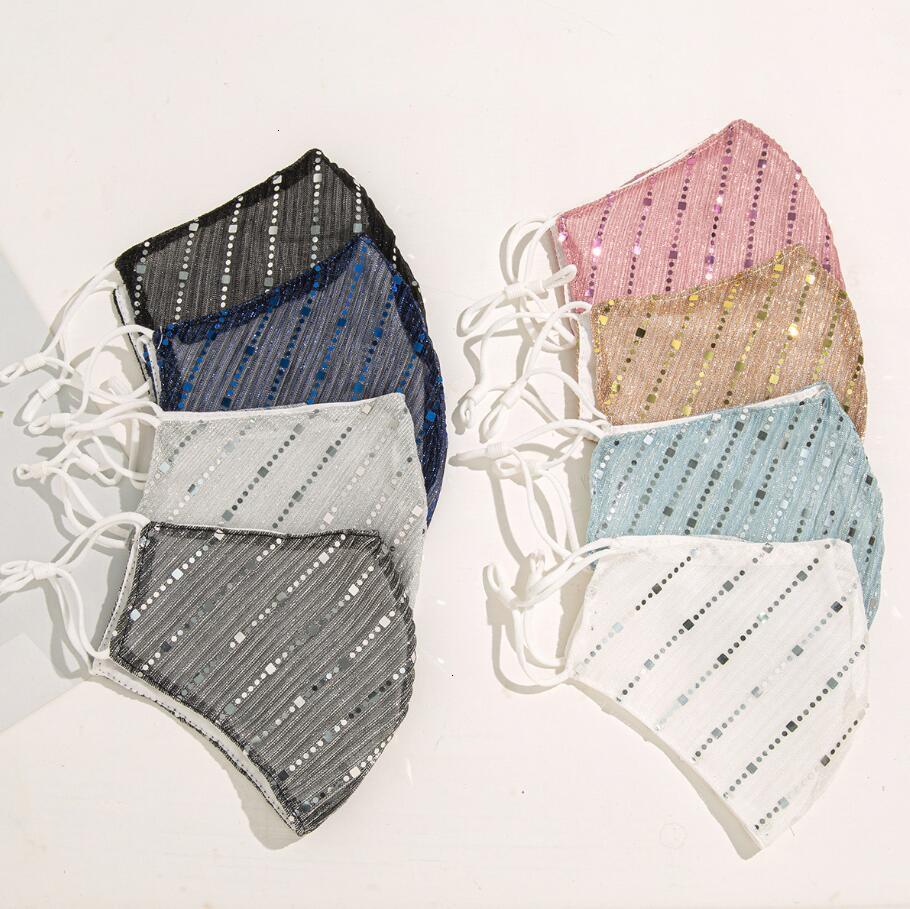 Face à la paillette Coton Colors Masques Mince 8 Femmes Toile Respirant Anti-Dust Sun Creanable Masque de masque réutilisable lavable Masque MAWH1J