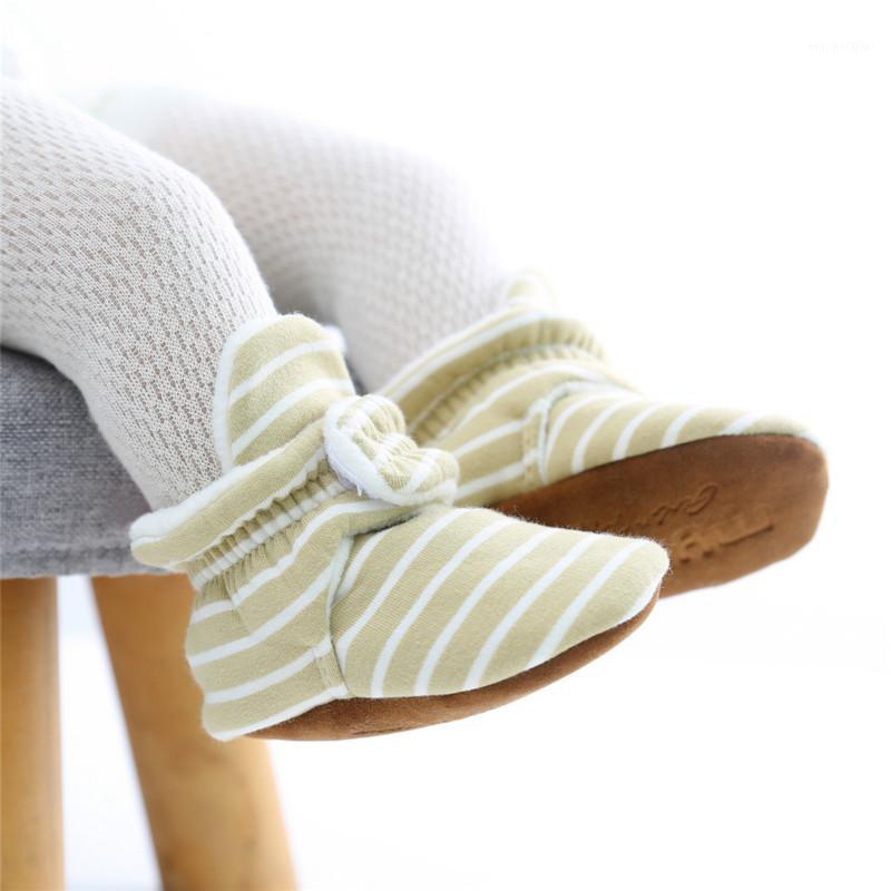 Erste Wanderer Baby Mädchen Schuhe für geborene Jungen Mädchen Streifen Kleinkind Booties Baumwolle Komfort Weiche Anti-Rutsch-Säuglings-Warmstiefel1
