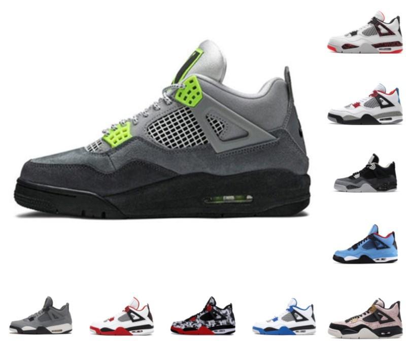 Высококачественные спортивные туфли 4 женские мужские баскетбольные туфли 4S New Jumpman кроссовки размером 13 черный кот огонь красный врученный IV кактус джек