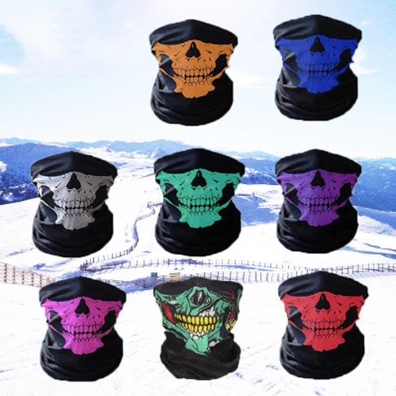 Cosplay bicicleta esqui crânio metade rosto unisex halloween máscara fantasma lenço bandana pescoço festa aquecedor festejar turbante mágico