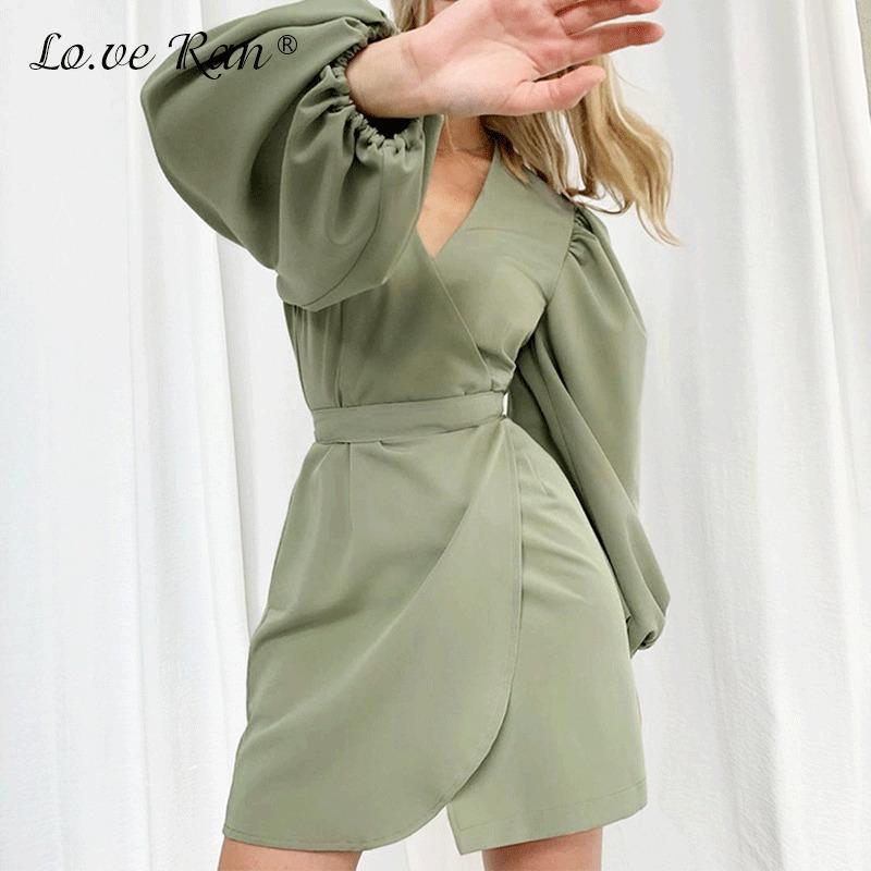 Женское мини-платье сладкий высокий талию фонарик солидный V-образным вырезом рукав элегантные платья на новый год 2021 Франция Офис Леди Рождество J1215