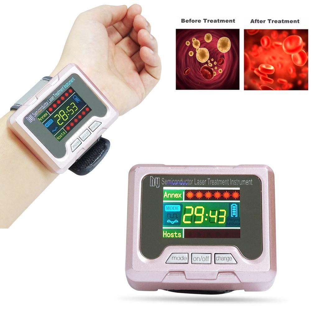 650nm 레이저 테라피 시계 손목 다이오드 고혈압 고혈압 당뇨병 치료 코 비염 치료 Lllt