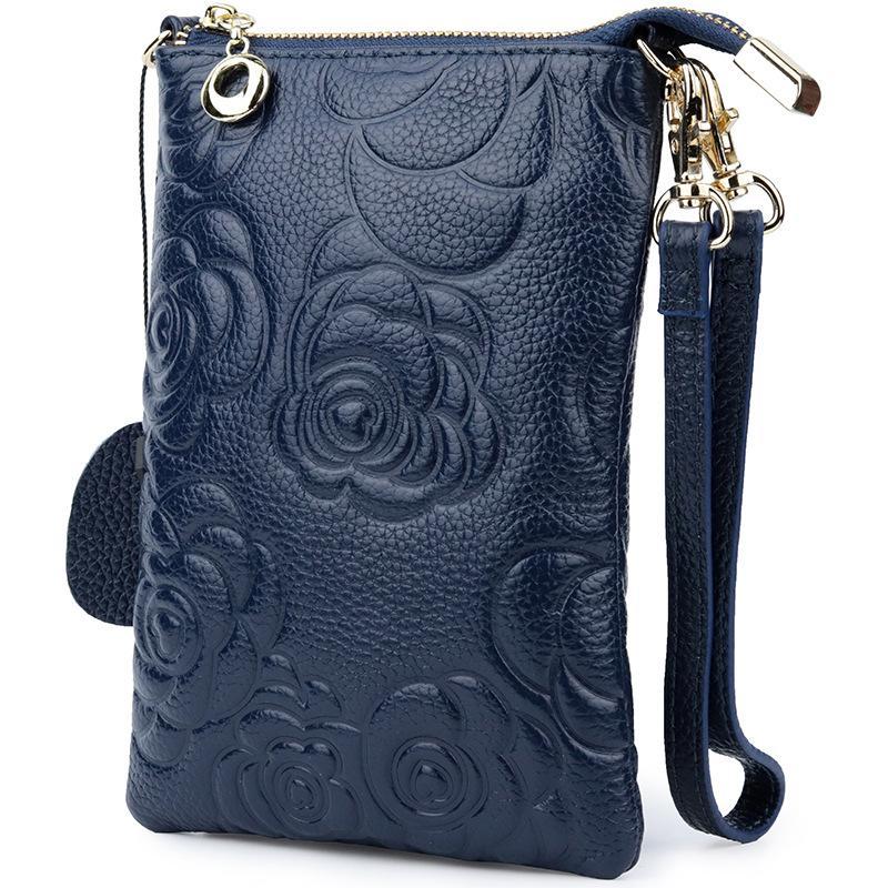 Мягкая сумка женщина сцепление кожаный кошелек мода молния роза цветок подлинный кошелек женские сумки кошелек для телефона тиснение по кровату