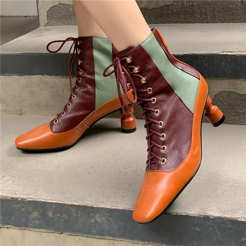 Botas das Mulheres Quadrado Toe Stiletto Ankle Boots 2020 New Net Retro Retro Retro Lace-Up Outono e Inverno Alto (6cm) Básico TPR