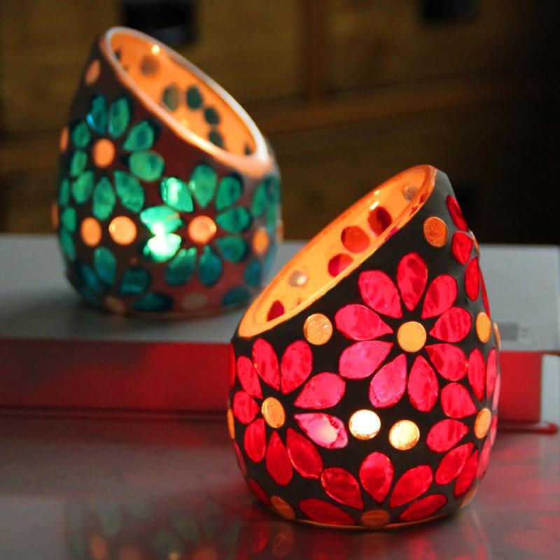 Flor romântica Vidro Vela Suporte Obleito Mosaico Mosaico Aromaterapia Velas Cup Home Sala de estar Decoração Ornamentos