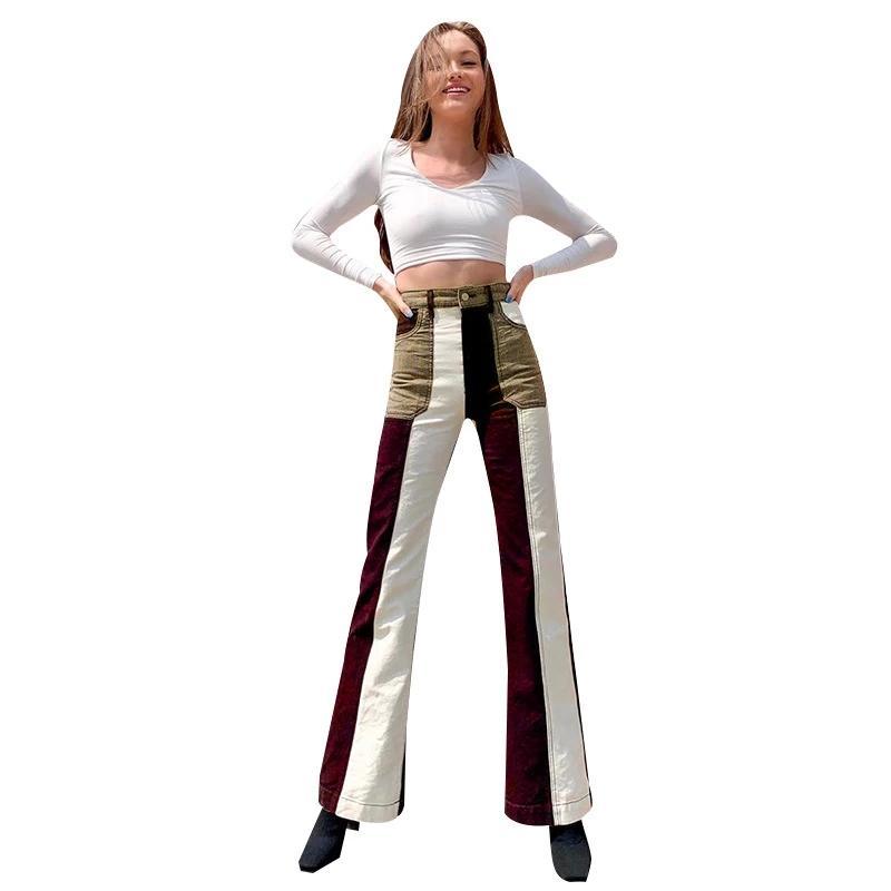 세련된 디자인 여성 명암 색상 패치 워크 플레어 청바지 가을 새로운 숙녀의 높은 허리 스트리트 벨 바닥 데님 바지