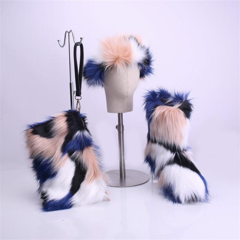 Swonco und Winterschuhe Frau Pelzstiefel Neue weibliche Knöchelschnee Stiefel mit Pelz Stirnband Tasche Y200114