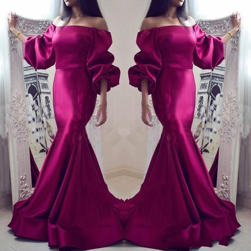 Elegant Fuchsia Mermaid Prom Dresses Off Shoulder Long Sleeves Satin Evening Gowns Party Dress Formal Dress Evening Wear Vestidos