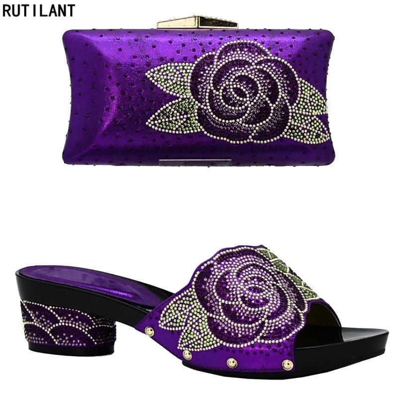 Nueva llegada Zapatos italianos con bolsas a juego Conjunto decorado con rhinestone mujeres zapatos de verano zapatos de boda africanos Set Y200326