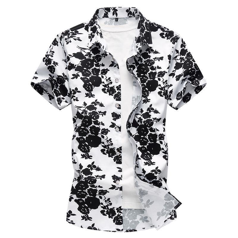 Camicie casuali da uomo Streetwear Plus Size Moda Slim Fit Abito manica corta Camicia da uomo Summer Quality Polyester Cotton Luxury Camisa Masculi
