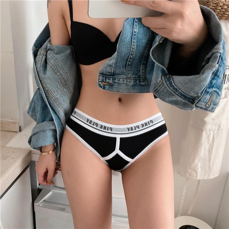 Esporte Mulheres Underwear Soild Soild Calcinha Letra Letra Sem Costura Tanga Mid Cintura Cabece-se Conforto Lingerie Algodão Briefs Tanga