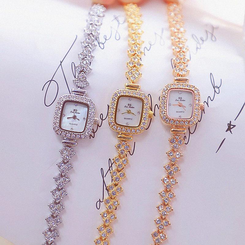 2019 mulheres assistir tempo luxo relógio de quartzo de diamante pulseira relógio de pulso de relógio de relógio de ouro pulseira de ouro relógio Montre femme j1205