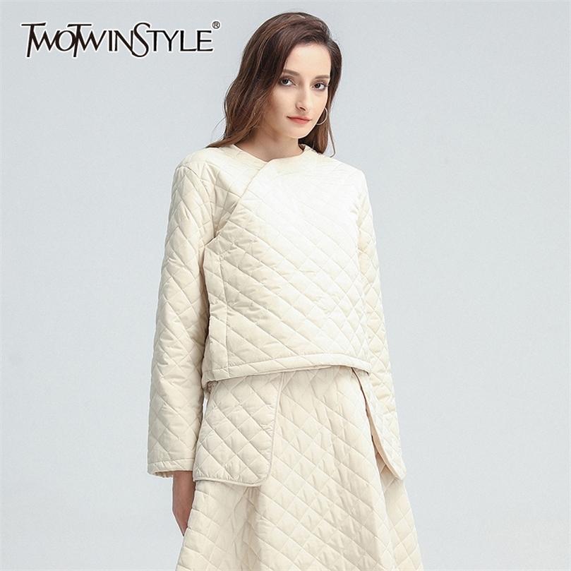 Twotwinstyle Ekose Rahat Pamuk Coat Kadınlar Için O Boyun Uzun Kollu Katı Kısa Parkas Kadın Kış Moda Yeni Giyim 201212
