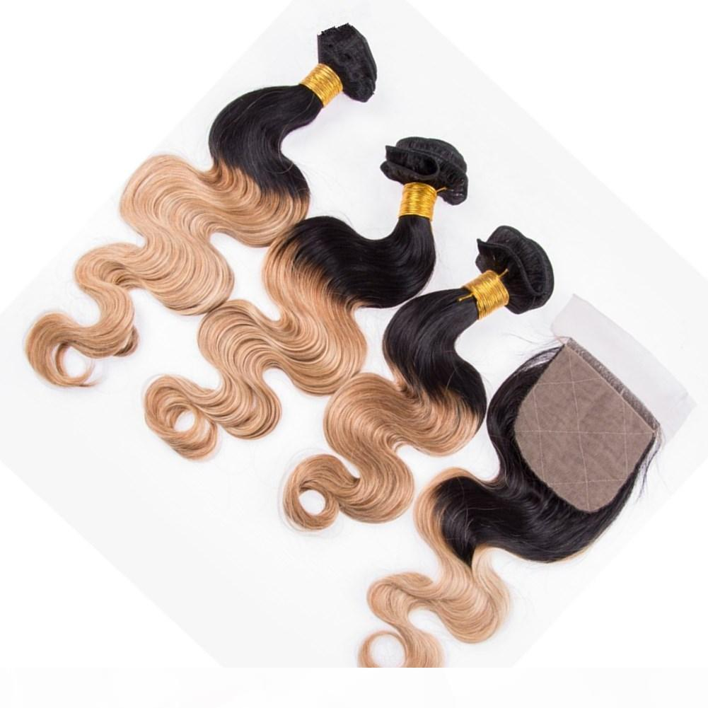 #1B 27 Honey Blonde Ombre 4x4 Silk Base Lace Closure with 3Bundles Body Wave Light Brown Ombre Indian Virgin Human Hair Weave Extensions