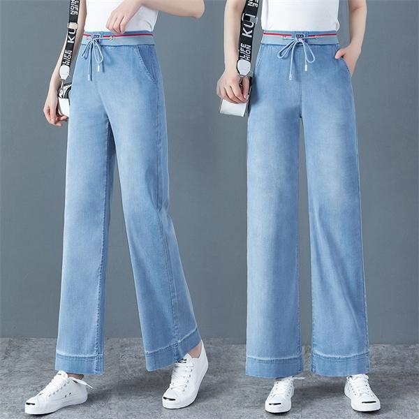 WYWAN Vintage Kadınlar Için Yüksek Bel Düz Pantolon Streetwear Kadın Denim Düğmeleri Fermuar Bayanlar 2020 Kot C1123
