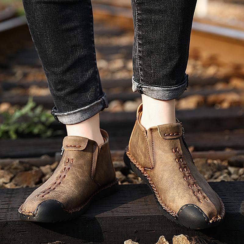 atacado 2020 homens sapatos de couro plus size 48 Loafers Casual botas de vintage zipper hombres black golden aberto Mid-Top Masculino sneakers