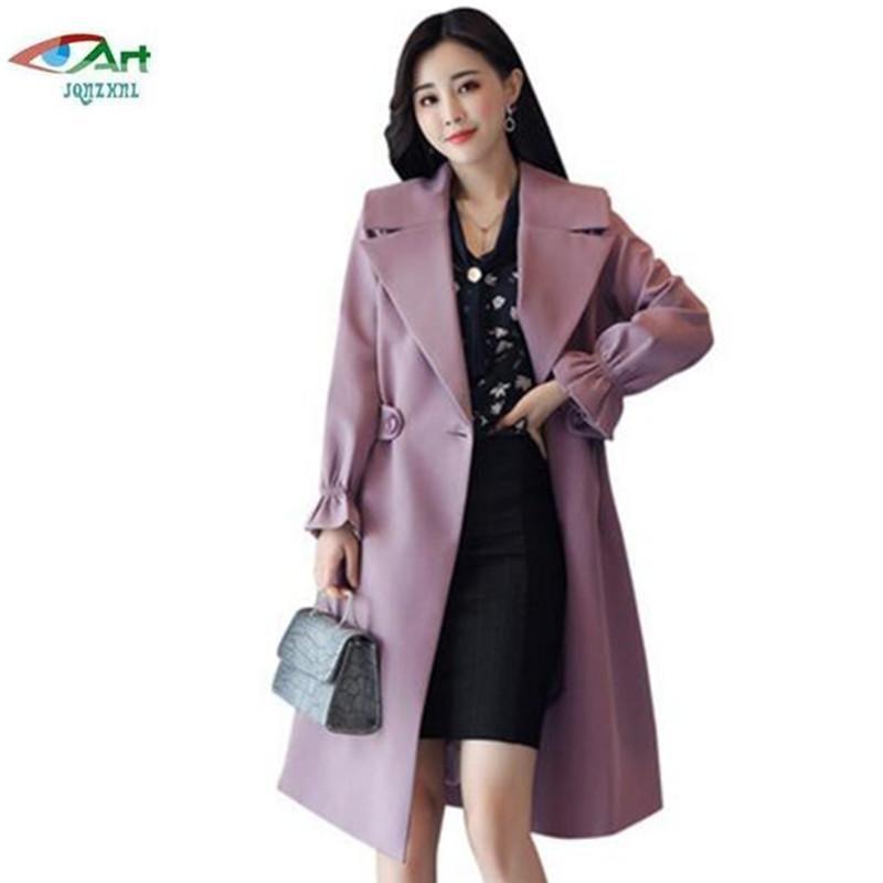Primavera novas mulheres windbreaker jaqueta longa seção magro fino primavera outono moda sólida sobretenhaats plus tamanho 4xl mulheres as701