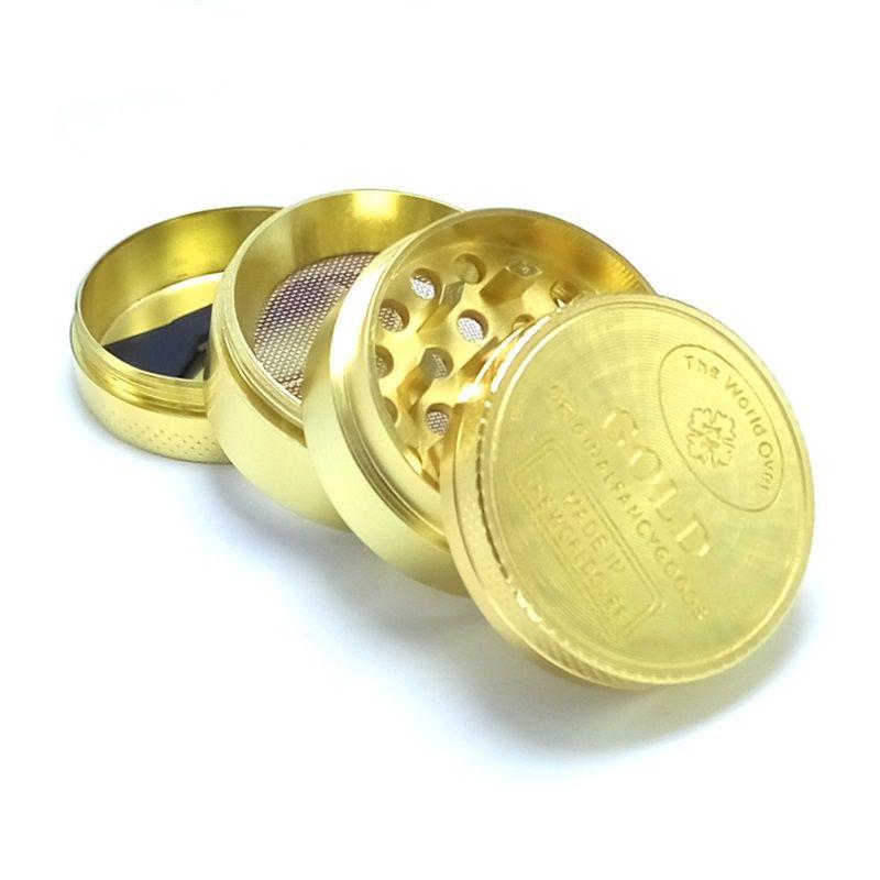 40mm moedas moedas zinco 4 andares chapeado ouro moda metal abrante acessórios fumar mulher moinho de homem novo chegada 8gc k2