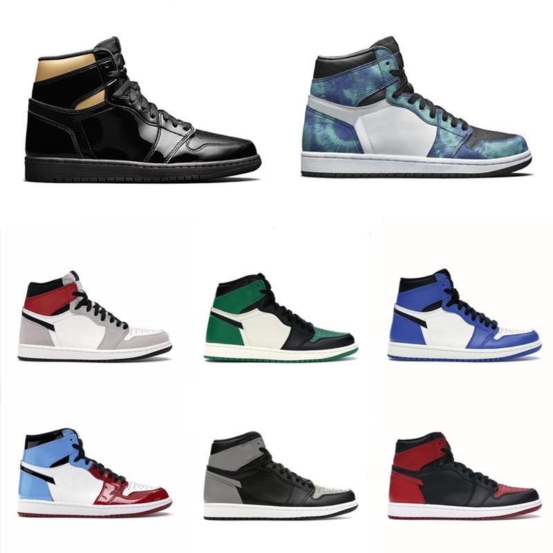 عالية الجودة og كرة السلة الأحذية 1 ثانية منتصف شيكاغو الملكي تو أسود لامع الذهب الصنوبر الأخضر السوداء براءات الاختراع الرجال النساء أحذية رياضية المدربين