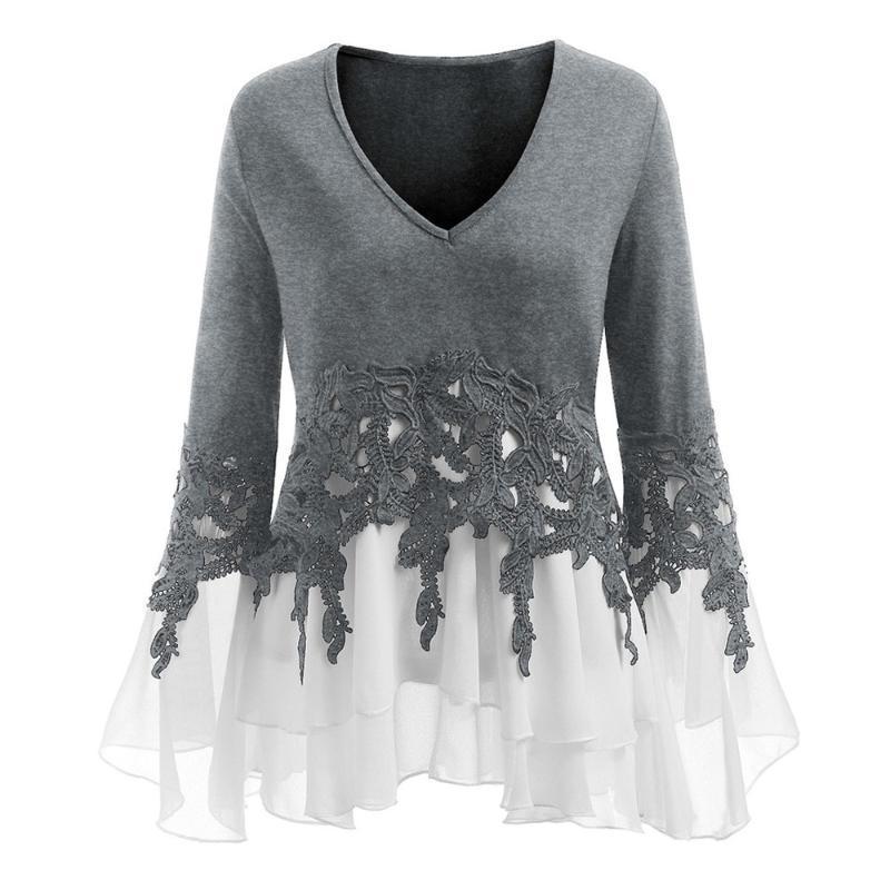 Женские блузки рубашки плюс размер моды аппликация шифон вспышка блузка повседневная зимняя женская туника топы женские женщины с длинным рукавом рубашка блюз