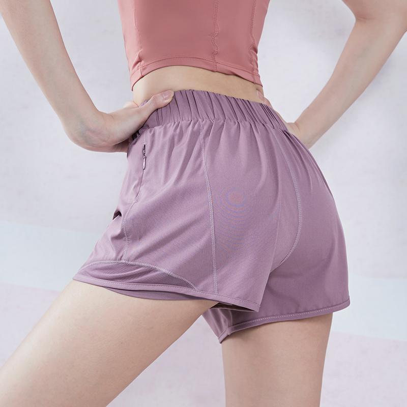 Willarde Workout Running Shorts Cintura elástica para mujer 2 en 1 Pantalones cortos de deportes Entrenamiento de verano Fitness Yoga con forro