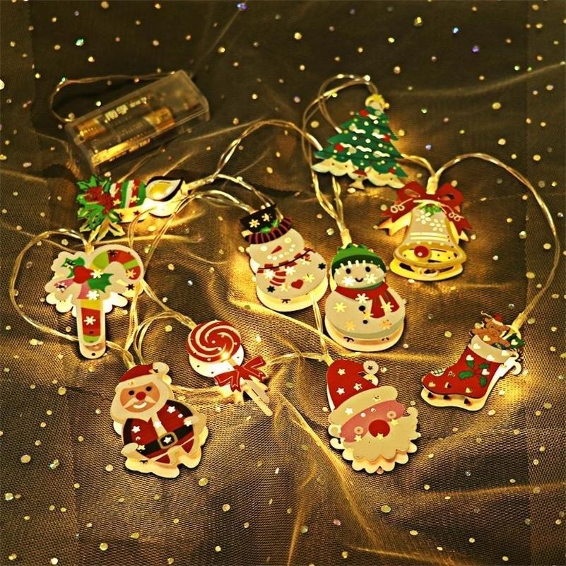 Santa Claus Christmas LED LED String Light Merry Christmas Decor per Home Navidad Albero di Natale Ornamenti Xmas Regali di Natale Capodanno Y201020