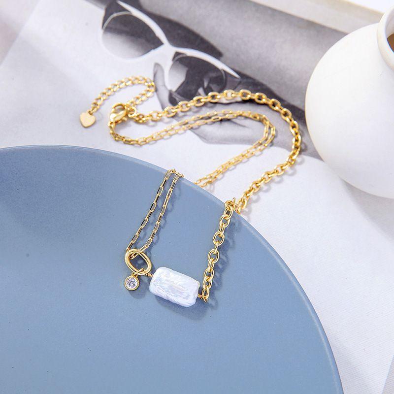 Damen barocken Schmuck Square Pearl Shell Chain Anhänger Choker Halskette
