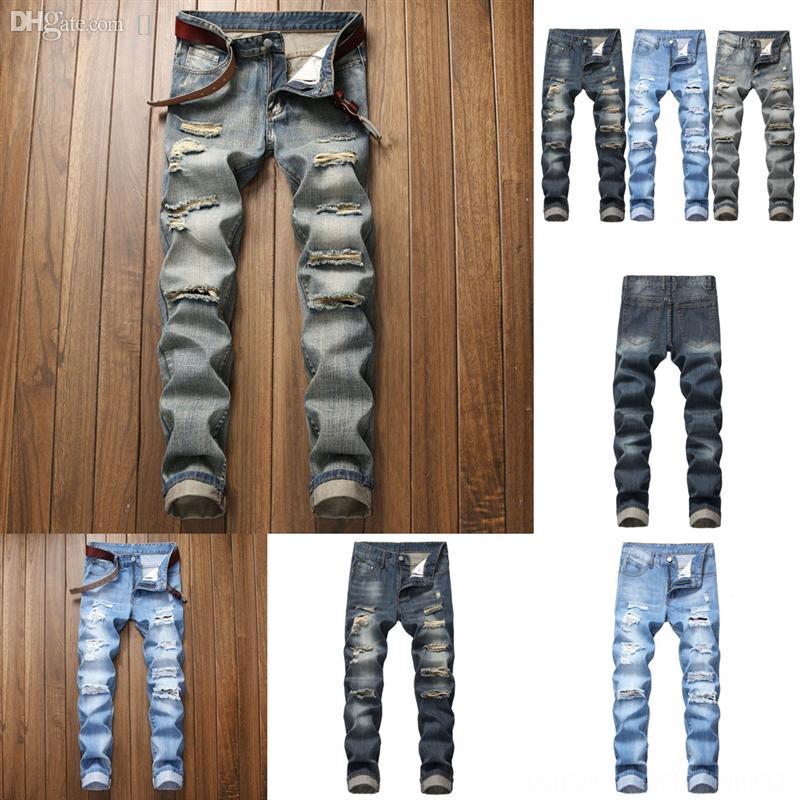 7T2QC Erkekler Düz Slim Fit Streç Kot Siyah Moda Biker Delik Kot Casual Denim Pantolon Erkek Erkek Mavi Hombre Pantolon Boyutu Mavi Jeans
