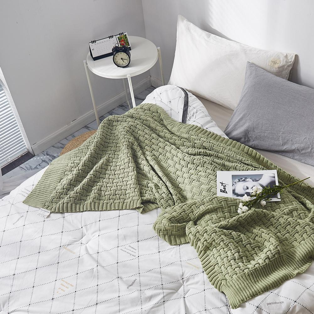 Cama de algodão macio cama respirável estilo chique grande lance macio cobertor portátil de sofá portátil