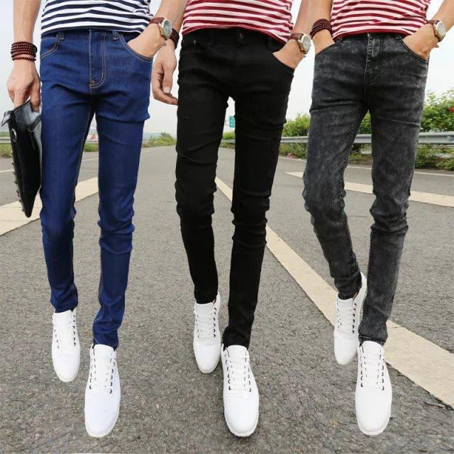 Printemps Jeunesse Jeans de la mode coréen Slim Pantalon décontracté Leggings Automne Black Pantalons
