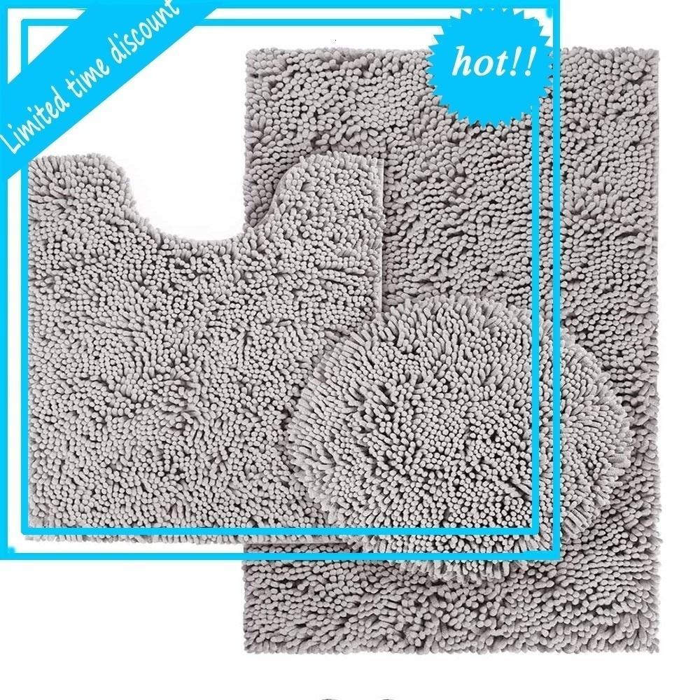 3 pcs set Anti-slip Chenille Bathroom Rug microfiber non slip bath Mat buy from china online