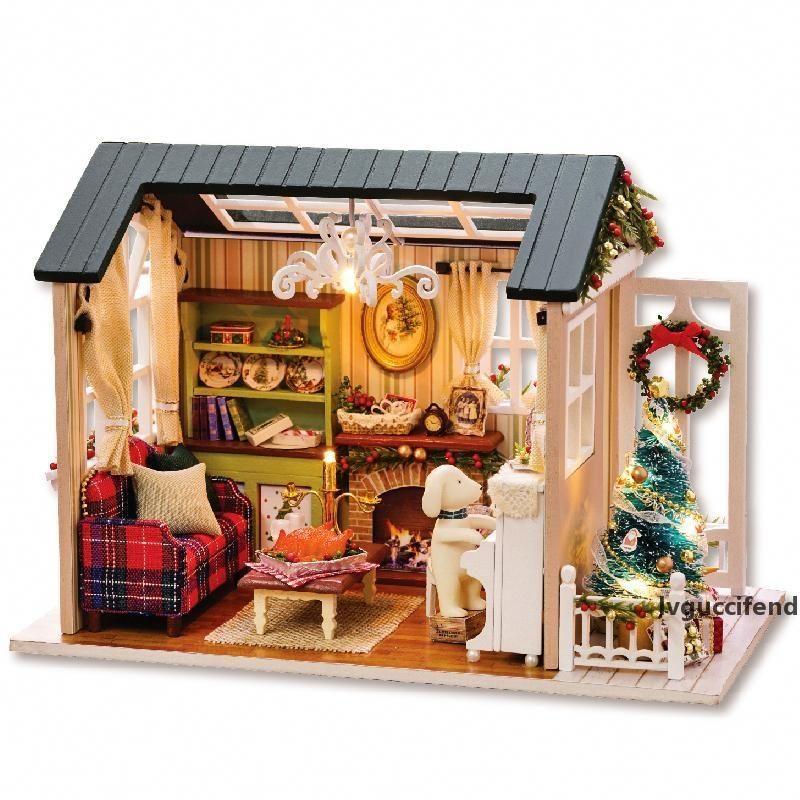 Puppenhaus Miniatur DIY Puppenhaus mit Möbeln Holzhaus Spielzeug für Kinder Geburtstagsgeschenk T200116