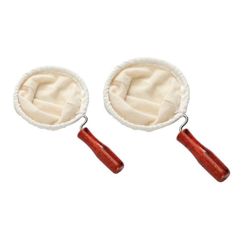 Filtros de café Filtro de mão reutilizável Filtro de pano de flanela com alça de madeira Malha Pot Cesta Café Bar Suprimentos Home Utensílios