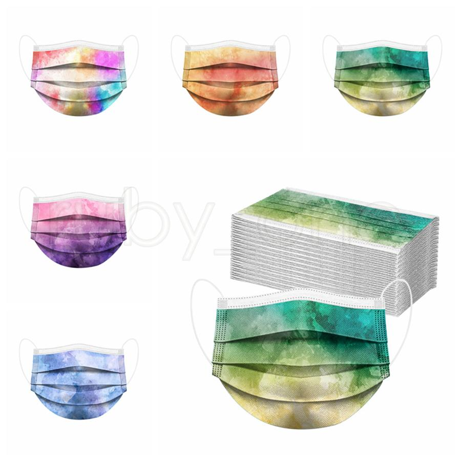 Adults Colored Tie-dye Disposable Face Mask 3-Ply Non Woven Anti Dust Anti Pollution PM2.5 Disposable Mouth Cover Mask RRA2397