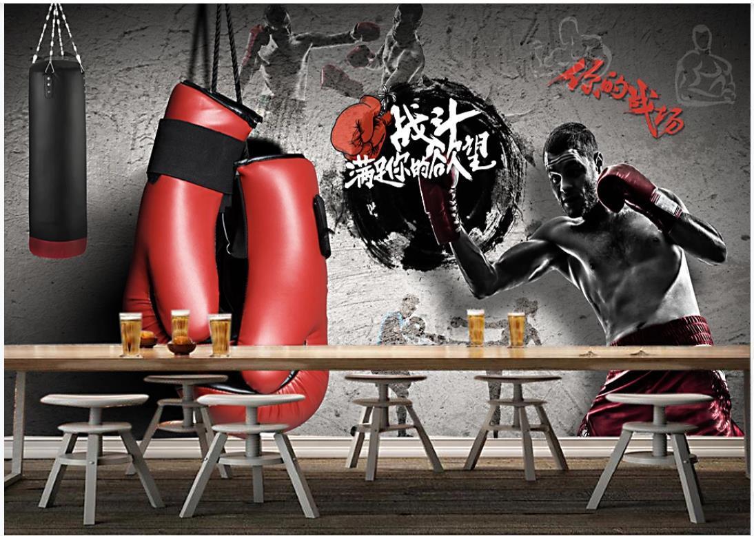 Pintage de fotos personalizados Murales para las paredes 3D Gimnasio mural deportes boxeo gimnasio concurso fondo pintura papeles de pared para la decoración de la sala de estar