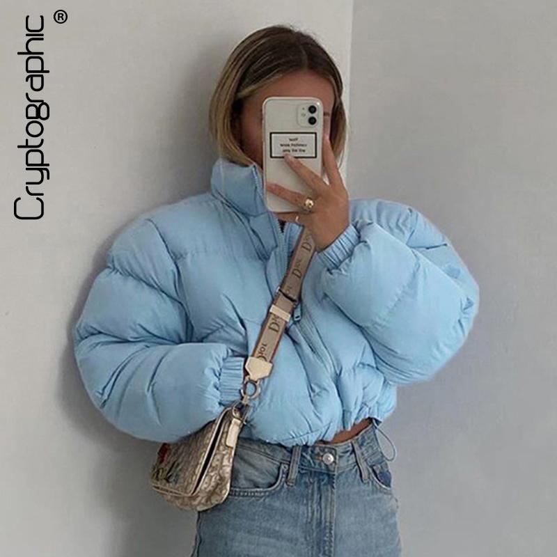 Kriptografik Moda Güz Kış Aşağı Ceket Kirpi Ceket Ve Mont Kadınlar Noel Kabarcık Kırpılmış Giyim Sıcak Giyim C1204