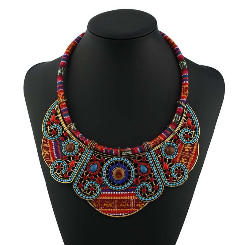 Bohemian necklacependants Hippie marinho moderno Big Blue Nome Colar Gargantilha Tribal Ethnic Boho Mujer