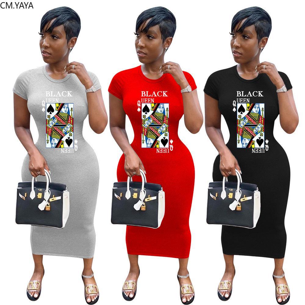 CM.YAYA Women Black Queen Spade Q Print Bodycon Midi Maxi T-shirt Dress Streetwear Fashion Long Pencil Dresses Vestidos F1130