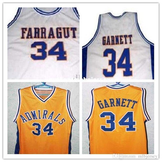 Ucuz # 34 Kevin Garnett Jersey, Farragut Kariyer Akademisi Amiraller Basketbol Forması, XXS-6XL Garnett Gerileme Basketbol Formaları