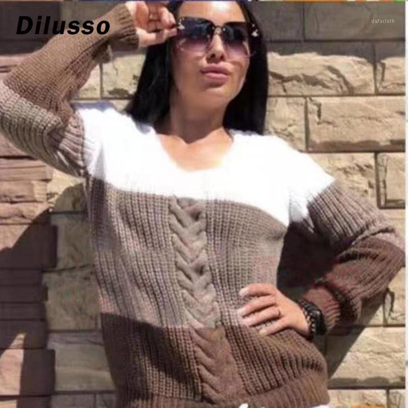 Patchwork Casual Suéteres Mujeres Mujeres Otoño Invierno Streetwear Suelto Punto de punto Pultos Mujer Tops Femeninas Nuevo Llegado 2020 # D31