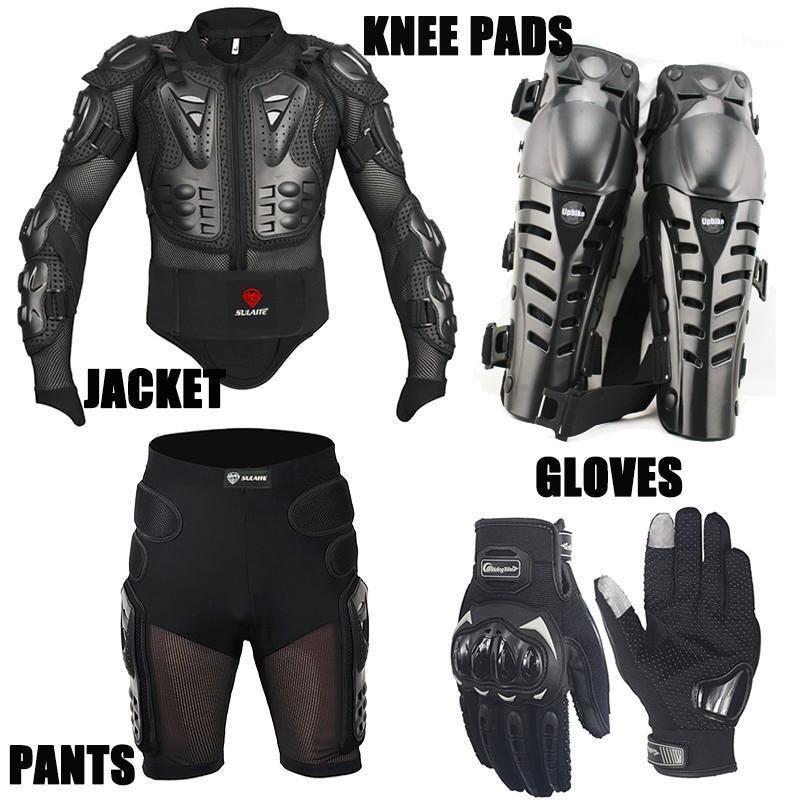 Motosiklet Giyim Bir Set 4in1 Ceket / Kısa Pantolon Kneepads Koruma Eldiven / Motocross Zırh Motocross Giyim Moto Eldivenler1
