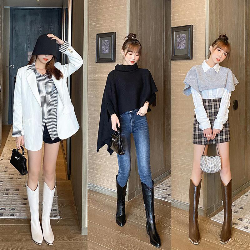 Botas para mujer sobre zapatos de rodilla Botas de punta redonda-Mujeres Calzado de invierno sobre la rodilla Med Otoño Medio ternero puntiagudo bajo Señoras