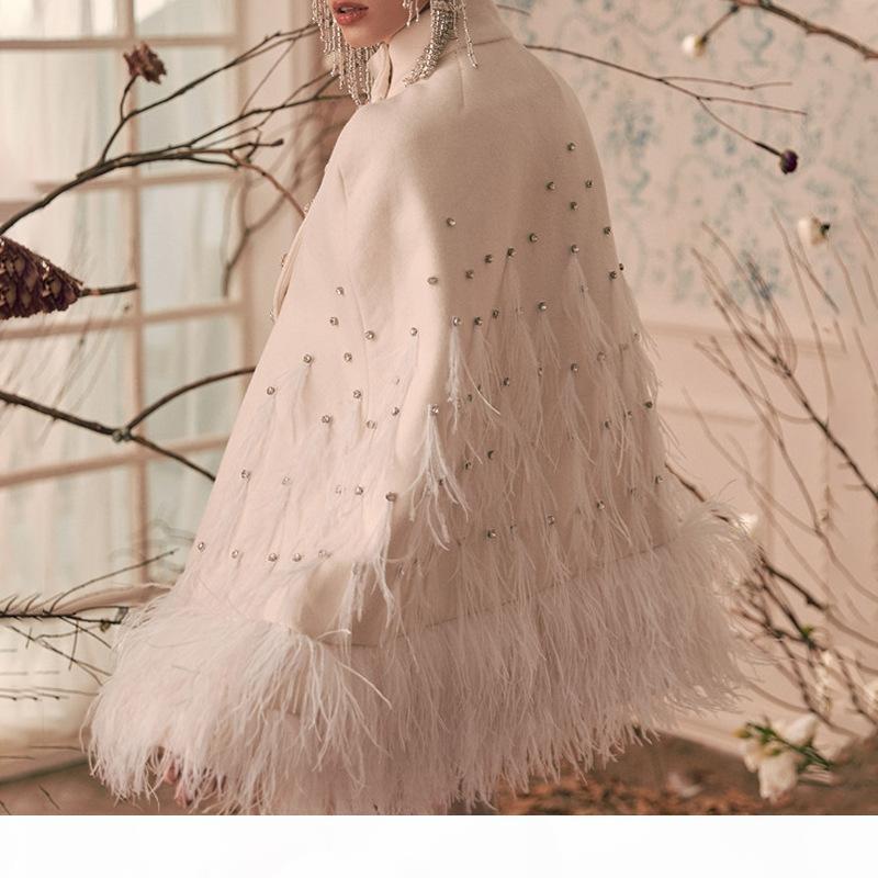 무료 배송 패션 코트 화이트 깃털 진주 더블 브레스트 케이프 코트 여성 여성을위한 우아한 양모 겨울 자켓 망토