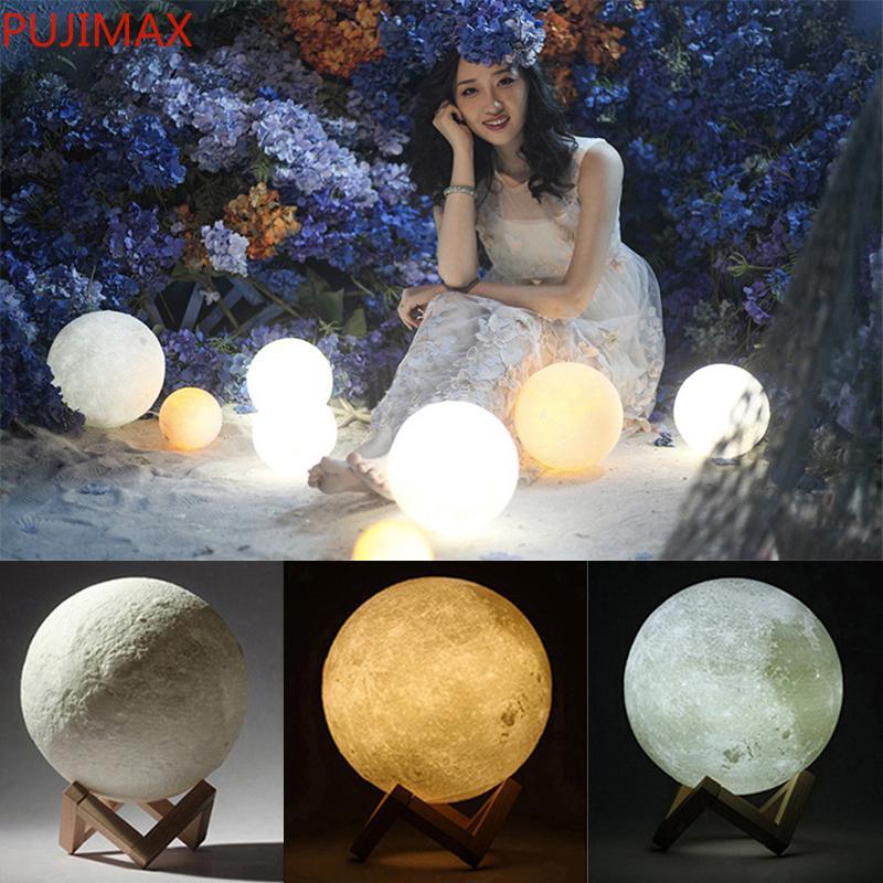 Волшебная луна светодиодные лампочки 3D светодиодные ночь 16 цветов Moonlight Desk Fample USB аккумуляторный 3D Moonlight Цвета бесступенчатой для рождественских огней подарки